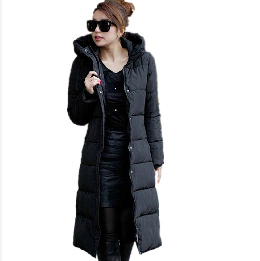 2016 Winter Women's Cotton Slim Long Coat Hooded Parka Jackets ...