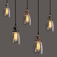 Lamp Cover E27 2M Retro Vintage Industrial Coffee House Glass Cover Ceiling Pendant Lamp Chandelier Light