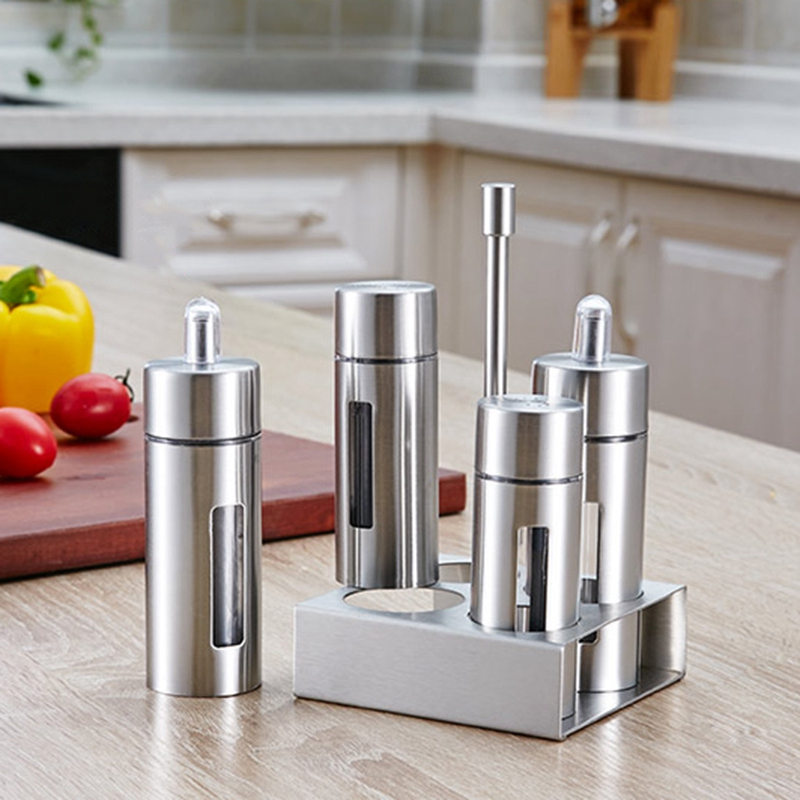 5 unids/set de acero inoxidable estante de la especia de condimentos Cruet frascos de especias de sal y pimienta condimento de cocina herramientas de cocina