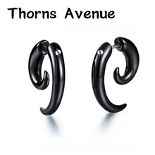 Thorns Avenue Fashion 1 Pair/Lot Black Color Bull Horn Snails Shape Stainless Steel Stud Earring Punk For Men Women Jewelry
