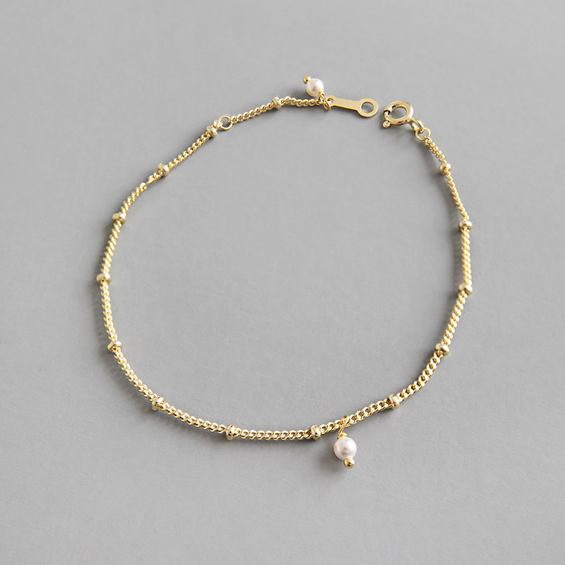 Real 925 Sterling Silver Bracelet for Women 2019 Light Gold Pearl Pendant Bangle Chain Jewelry Gift