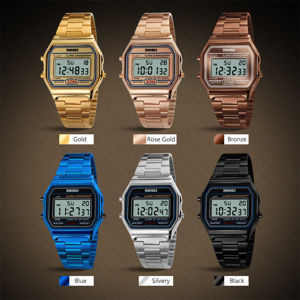 Pria LED Digital Watch Tahan Air Alarm Arloji Kalender El Light Jam Tangan Merek Jam Tangan Pria Fashion