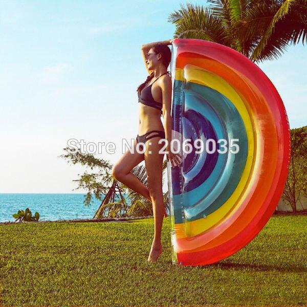 Гигантский Радуга надувные поплавки половины арбуз бассейн поплавок пляж игрушки воды Blowup фрукты поплавок матрац Lounger