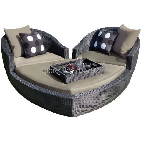 Newest Outdoor Rattan Lounge Heart Suite In Garden Sofas From