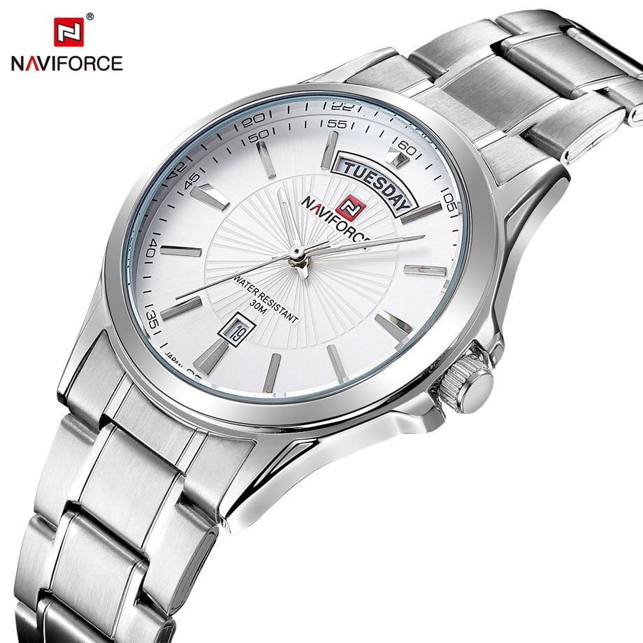 66dc944d9dcb 2016 Nuevo naviforce moda del acero inoxidable de plata reloj hombre de  negocios de los hombres ocasionales reloj de cuarzo Relojes Hombre
