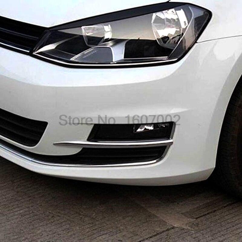 For Volkswagen Golf 7 MK7 2014 2015 2pcs Chromed Car Front Fog Light Lamp Shade Cover Trim Bezel Molding Strip Sticker