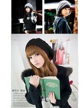 Women Fashion Beige Beret Braided Baggy Beanie Crochet Hat lady Cap Fashion Beige