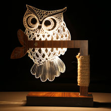 3D Owl Shape LED Desk Table Light Lamp Night Light Art Home Ornaments For Living Room Bedroom Decorations - US / EU Plug(China)