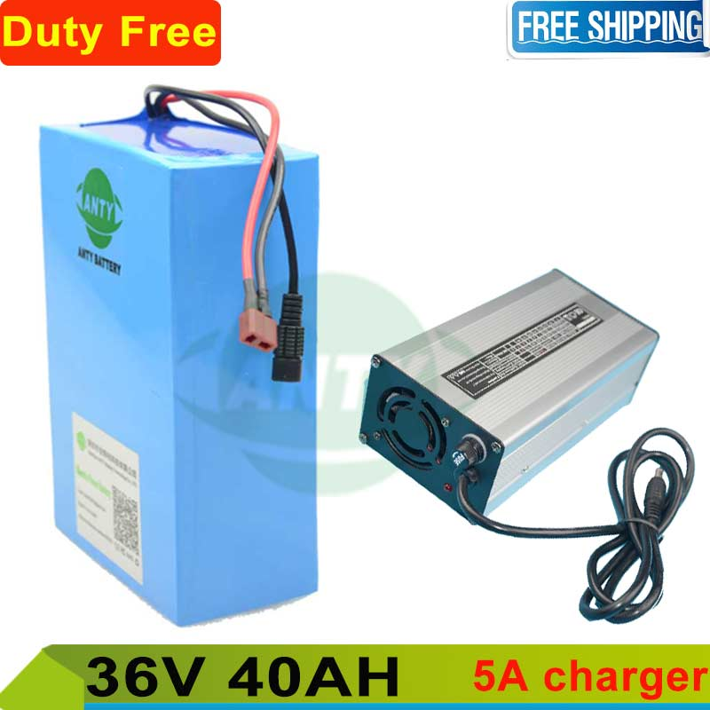 Free shipping and Duty Rechargeable lithium battery 36v 40ah eBike battery 36v 1000w li-ion battery pack + 5A charger + 50A BMS free customs taxes super power 1000w 48v li ion battery pack with 30a bms 48v 15ah lithium battery pack for panasonic cell