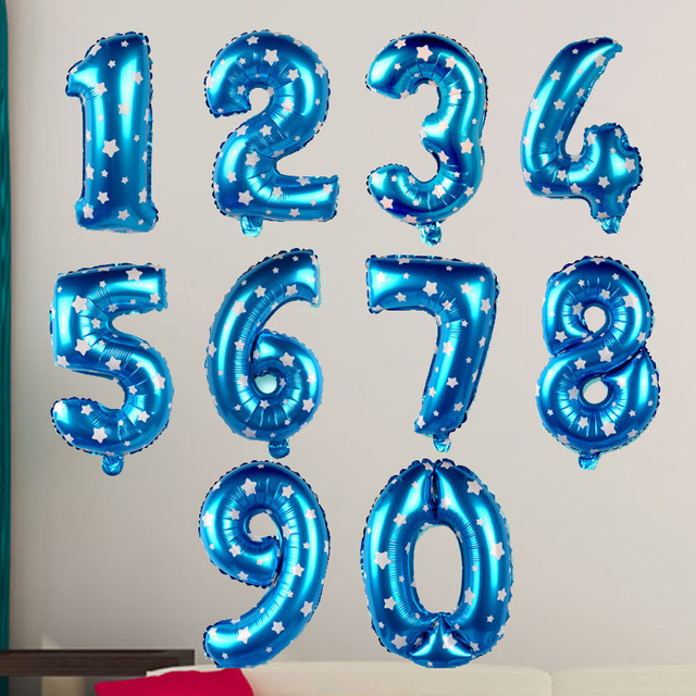 143 16 Pulgadas Número 1 Globos De Papel De Aluminio Grande De Aire Azul Dígitos Impreso Corazón Globo De Cumpleaños Fuentes Del Partido