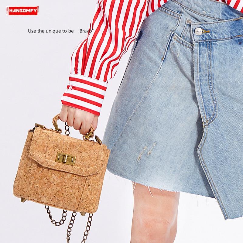 New original fashion women handbags simple female Wooden shoulder bag Messenger bag mini cork square bags