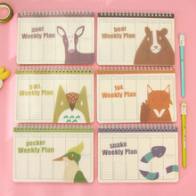 1pc 18.7*13.8cm Creative Cute Little Kitty Tape Record Book Coil Week Plan Schedule Financial Hand