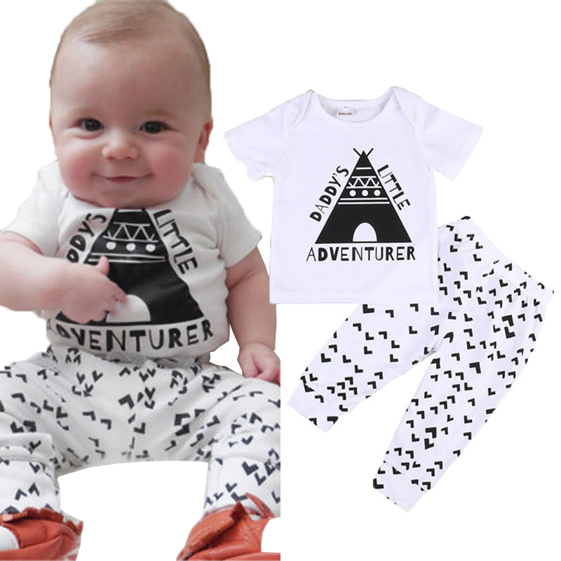 Little Adventure Newborn Toddler Infant Kids Baby Boy Clothes Tshirt Tops+Pants Outfits Set Babies Summer T-shirt Clothing Sets newborn kids baby boy summer clothes set t shirt tops pants outfits boys sets 2pcs 0 3y camouflage