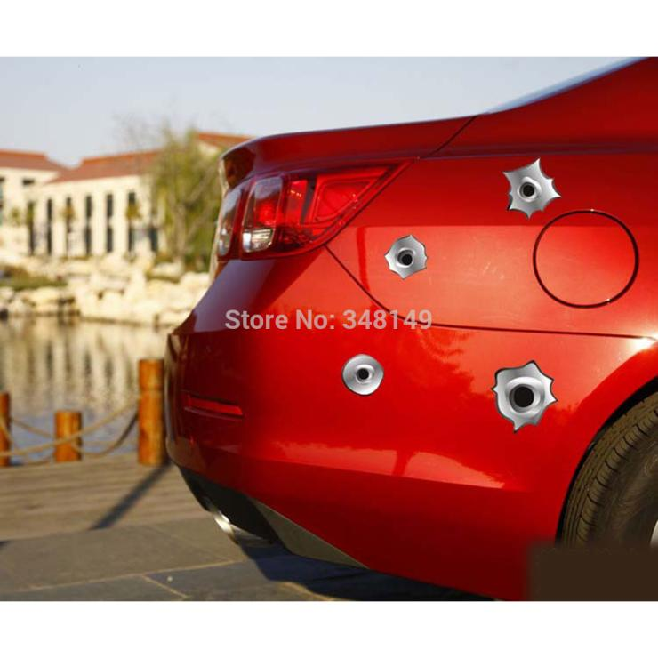 12 x Funny Simulation Gun Bullet Hole Stickers Car Decal for Toyota Chevrolet cruze Volkswagen skoda VW Hyundai Kia Lada opel