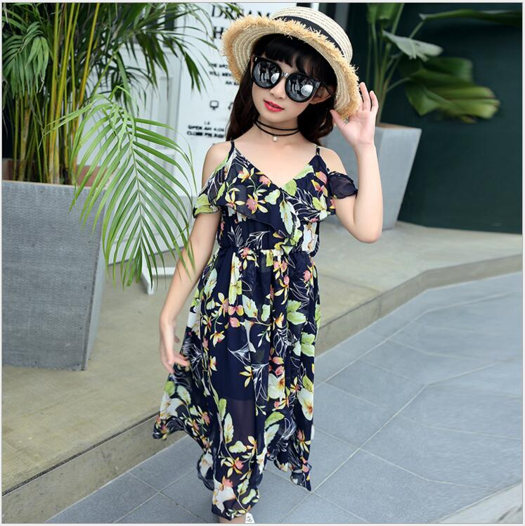 Beach Dress With Open Shoulders Girls Summer Floral Dress Princess Teenage Clothes For Girls For Girls 4-13 Years Old
