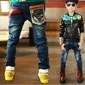 2015 осень новой детской одежды мальчиков джинсы с карман лоскутное стиль высокое качество более низкая цена B029