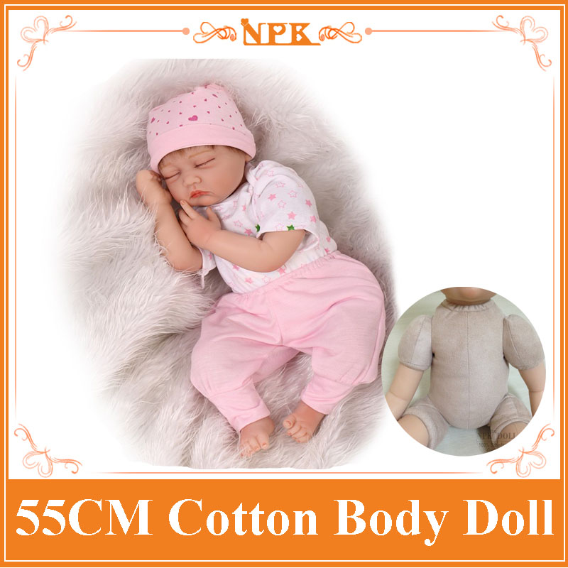 NPK Hot Brand 55cm 22inch Reborn Dolls Babies With Real Cotton Made Layette Top Seller Of Sleeping Bebes Benecas Best Brinquedos free shipping hot sale real silicon baby dolls 55cm 22inch npk brand lifelike lovely reborn dolls babies toys for children gift