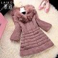 Winter new real fur coats,Elegant Slim fox fur collar rabbit fur coats,Plus sizes Women's fur coats overcoats FH638