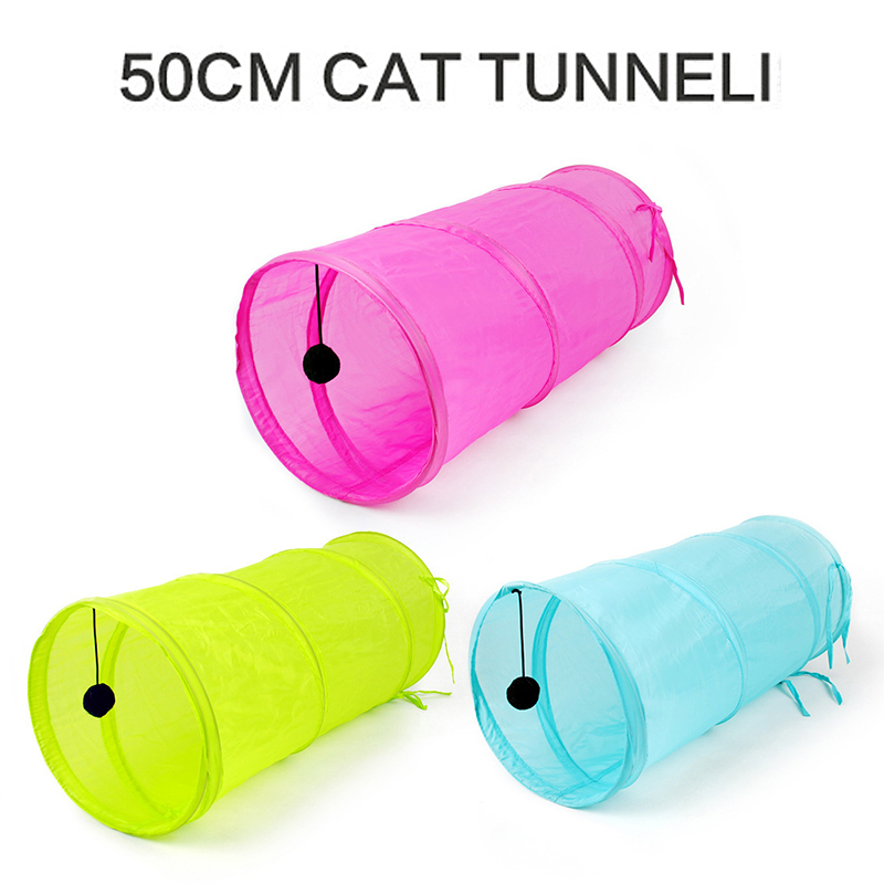 Funny font b Pet b font Cat Tunnel 2 Holes Cat Play Tubes Balls Collapsible Kitten
