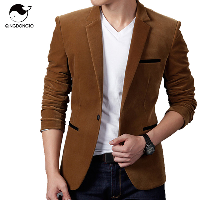 Blazer Men 2017 Men'S Fashion Brand 3 Pockets In A Solid Color Male Single-Breasted Single Button Terno Masculino 3XL PPQUW