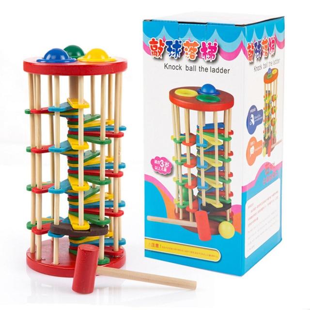 Juguetes creativos de madera que golpean los juegos de pelota Color cognitivo Montessori matemáticas juguetes educativos temprano para chico