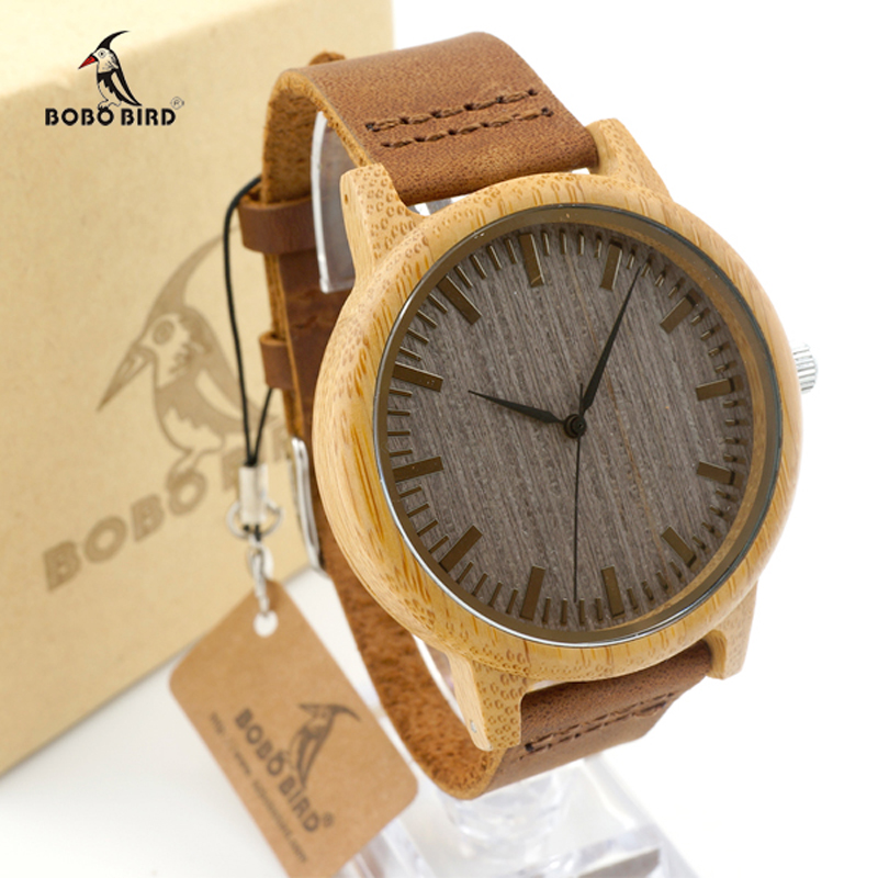 Luxury Brand BOBO BIRD Men Watch Original Wooden Watches Genuine Leather Strap Wristwatch relogio masculino B-A18 bobo bird top brand men watch luxury wood watches with genuine leather strap relogio masculino