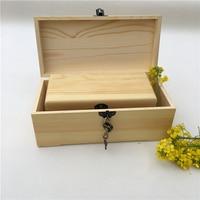 Large Solid Wood Pine Box Rectangular Lock Storage Box Household Sewing Box Empty Box Christmas Peace