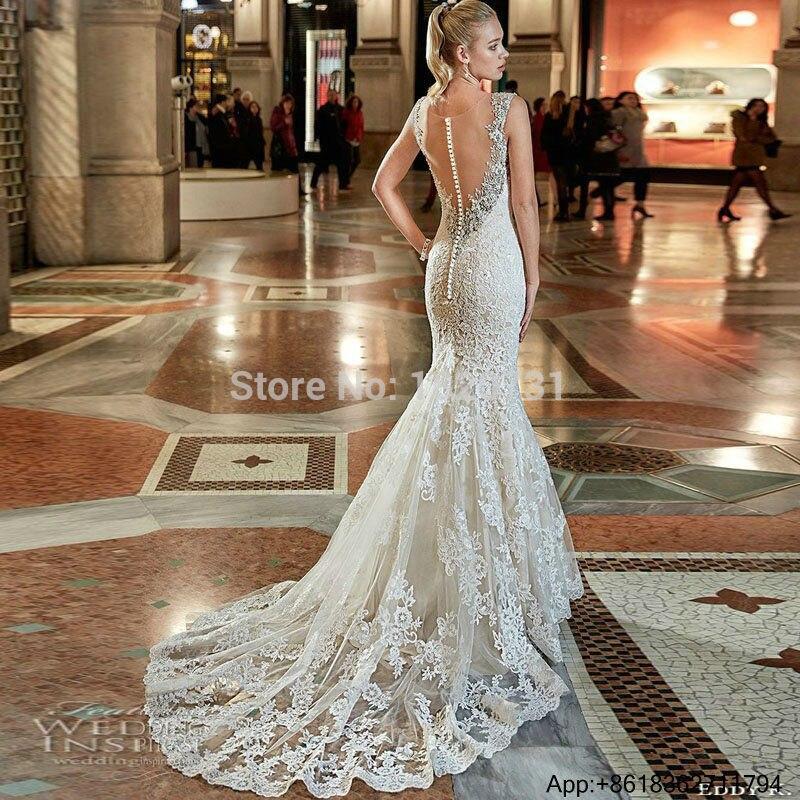 02107041a Vestidos De Novia vestido De Novia De la boda las mujeres coreanas Sexy Vintage  vestido De boda sirena De gótico encaje sin espalda Vestidos De Novia 2019  ...