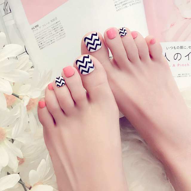 2019 Manicure Finished Fake Nails Patch Toe Nail Wavy J32 Accessories Acrylic