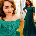Elegant Half Sleeve Green Lace Long Evening Dresses Simple Lace Scoop Evening Party Gowns Cheap Formal Women Evening Dress 2016