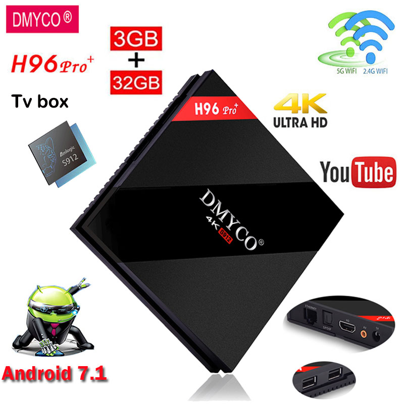 DMYCO android 7.1 Smart TV Box H96 PRO 3GB RAM 32GB ROM tv box Amlogic S912 Octa Core 4K wifi HD BT 4.1 Support iptv MediaPlayer goodcee h96 pro android 7 1 os smart tv box 3gb 16gb amlogic s912 octa core 2 4 5 8g wifi 1000m 4k bt 4 1 iptv set top box