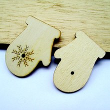 Free shipping 5*3.6cm 50pcs/bag wholesale high quality  gloves die cutting Angle wooden Christmas decorations 017012007