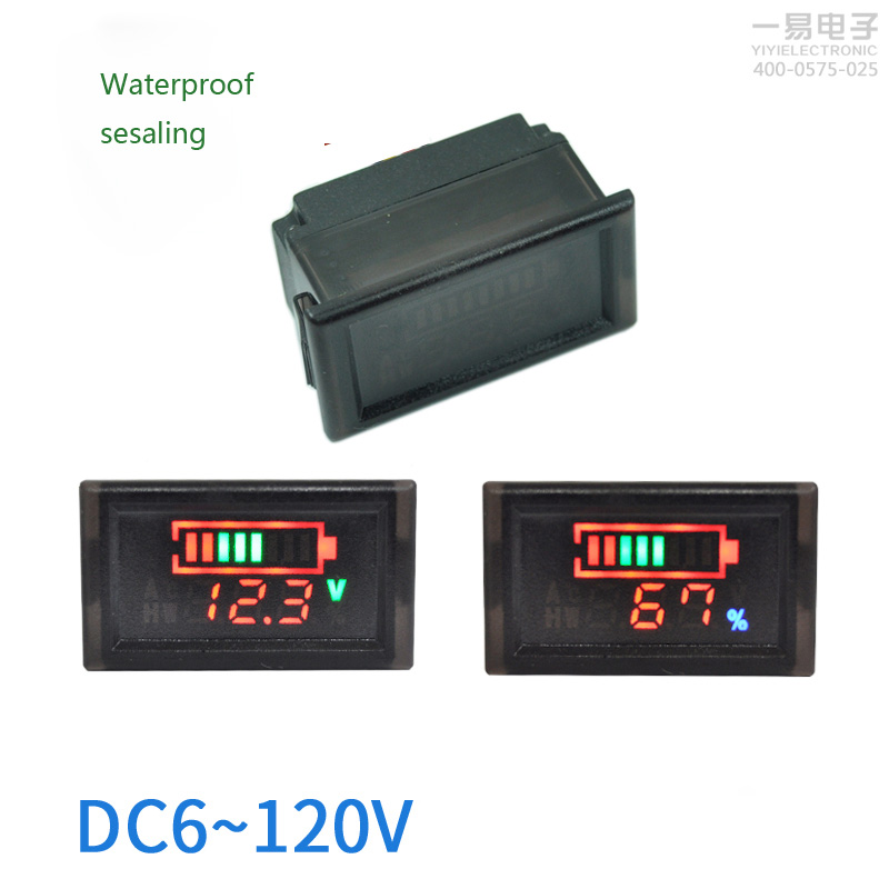 DC 6-120V LED Screen Double Display Coulombmeter Volmeter Electrical Digital Voltage Meters Portable Digital Voltmeter