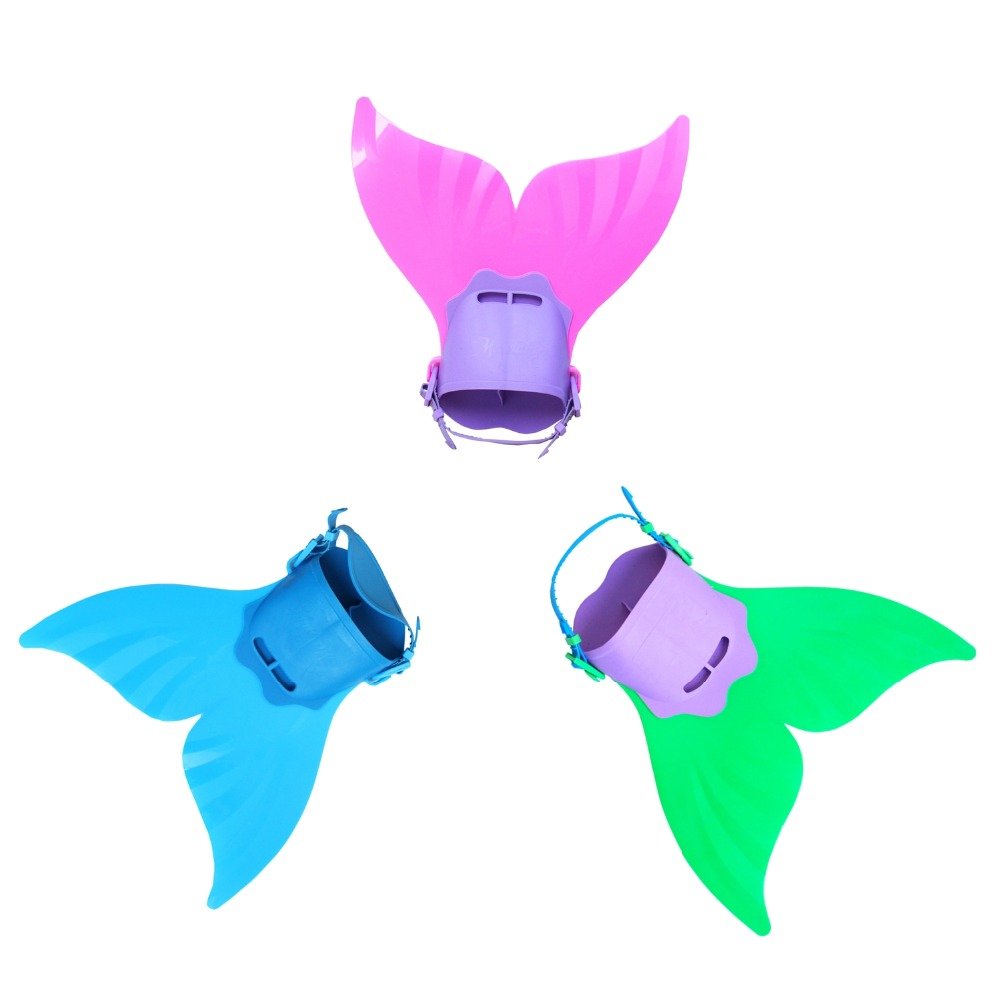 Blue Red Green Soft Plastic Fin Kids Girls Swimming Mermaid Tail Monofin Flippers Real Swimmable Costumes For Children