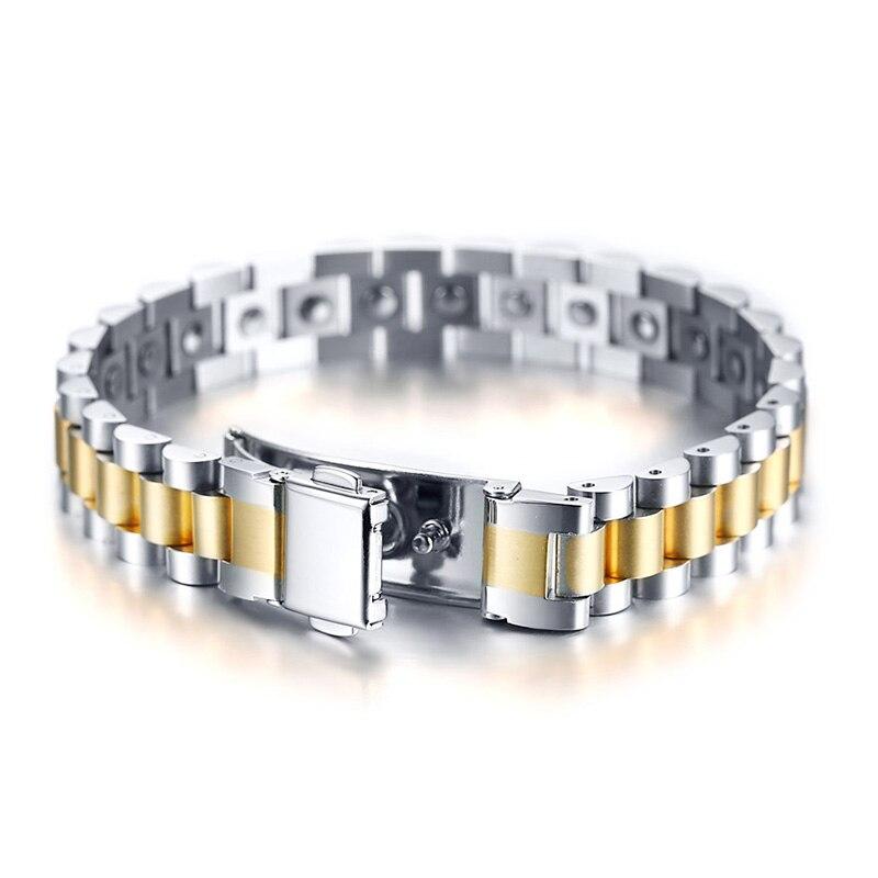 Vnox 24 piezas completo 99.99% germanio Correa reloj diseño pulseras Acero inoxidable hombres joyería-in Pulseras de holograma from Joyería y accesorios    1