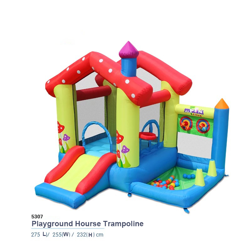 HTB1N0rOPFXXXXbvXpXXq6xXFXXXx - Mr. Fun Inflated Bouncing Castle Mushroom Jumper Playhouse with Kids Slide, Ball Pool, & Target Game with Blower