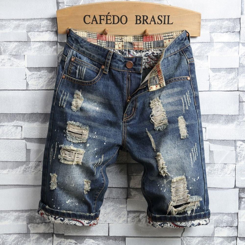 summer Style men   jeans   Shorts luxury Men slim Denim shorts zipper hole Straight Moto & Biker Shorts   jeans   for men blue and black