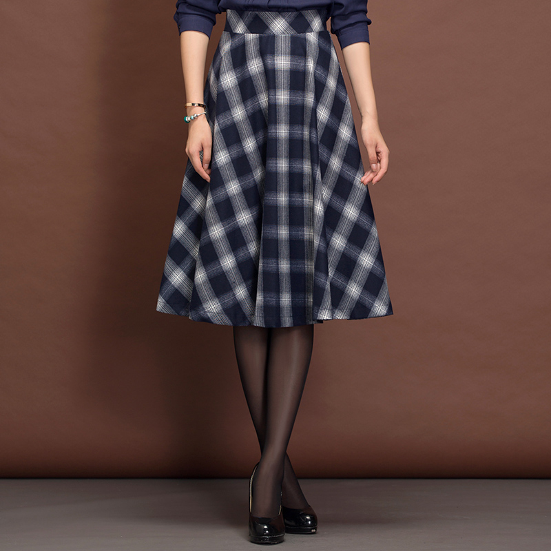 Winter Skirt Vintage Womens Cothing Red Pleated Plaid Skirt Women England Style Fashion Falda Invierno A-Line Plaid Skirt C1251