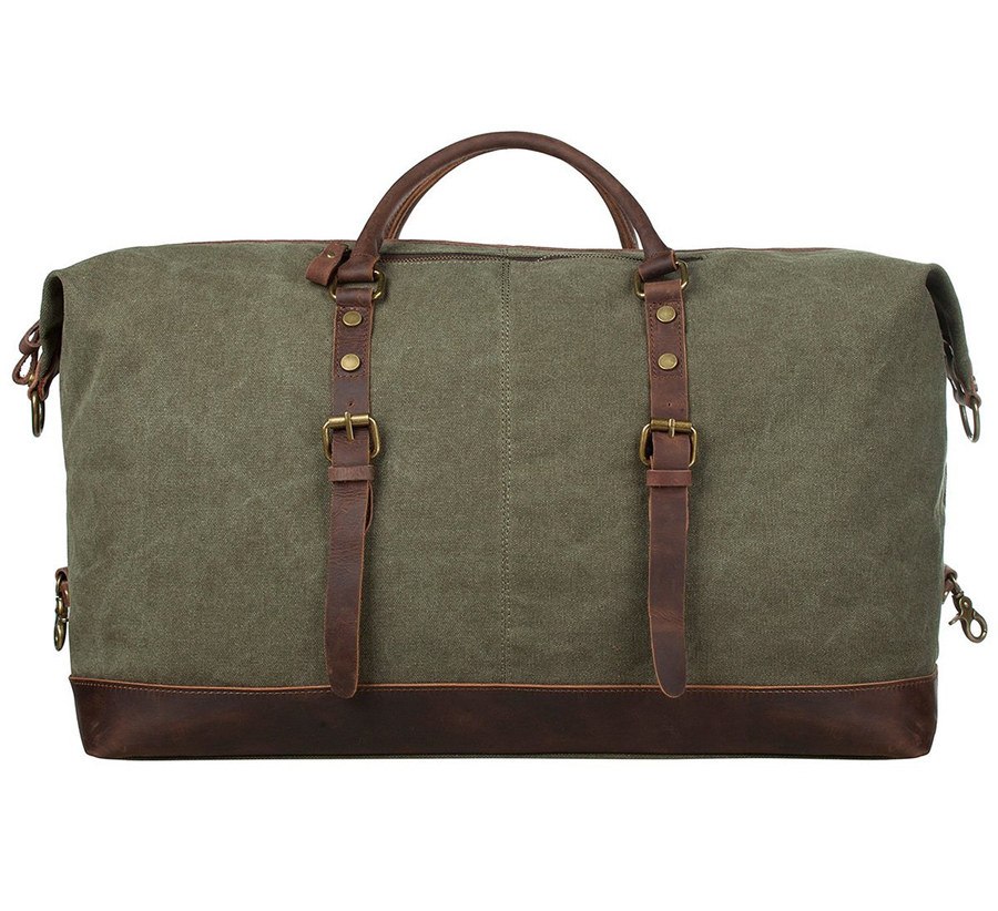 7cea21b227 Vintage Military Canvas Leather Big Duffle Bag Men Travel Bags Carry on Travel  Luggage bags Large Road Weekend Tote Handbag-in Travel Bags from Luggage ...