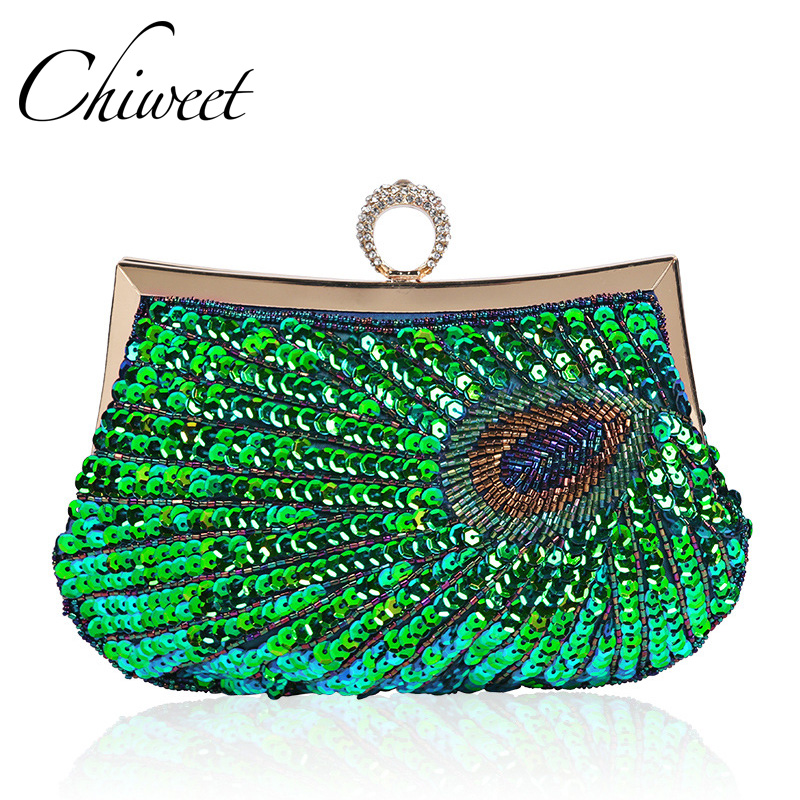Luxury Handbags Purses Clutch Finger-Ring Peacock Shoulder-Bag Beaded Sequined Classic