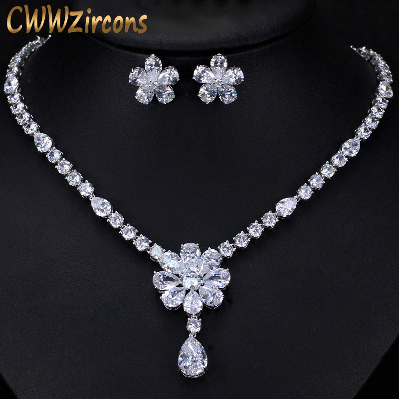 CWWZircons High Quality Bridal Wedding Party Jewelry Dazzling White Cubic Zirconia Flower Necklace Earrings Sets For Women T300Bridal Jewelry Sets   -
