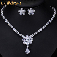 CWWZircons High Quality Bridal Wedding Party Jewelry Dazzling White Cubic Zirconia Flower Necklace Earrings Sets For Women T300