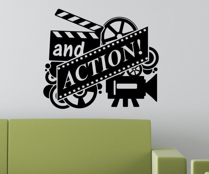 Movie Tatto Wall Decal Home Cinema Film And Action Quotes Mural Art ...