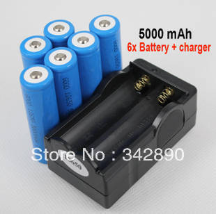 6x 5000mAh 3.7V 18650 Li-ion Rechargeable Battery + Charger For  LED Flashlight Torch flash light