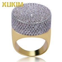 Xukim Jewelry Bling  Gold Color Micro Pave Cubic Zirconia Round Ring for Men Multiple Size Rock Punk Hip Hop Party Gifts