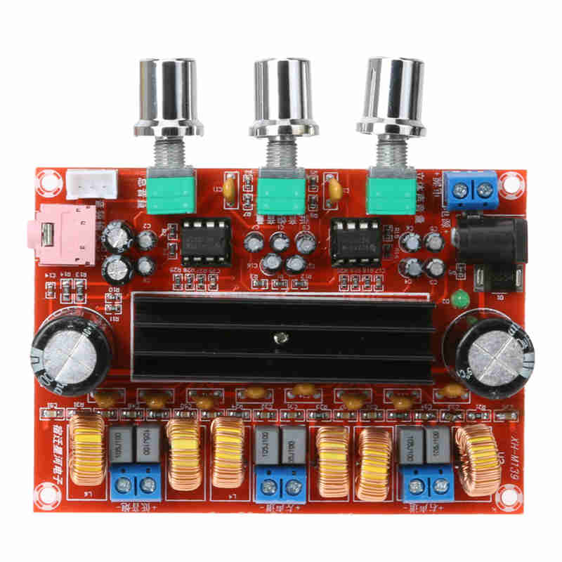 TPA3116 2.1 Digital Audio Amplifier Board TPA3116D2 Subwoofer Speaker Amplifiers DC12V-24V 2*50W+100W adjustable bass treble two divider hifi module game pwm modulation digital amplifier for speaker audio crossover repair parts