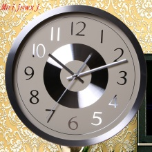 Meijswxj Wall Clock Saat Reloj Round Metal Clock Relogio de parede Duvar Saati Digital Wall Clocks Horloge Murale Living room