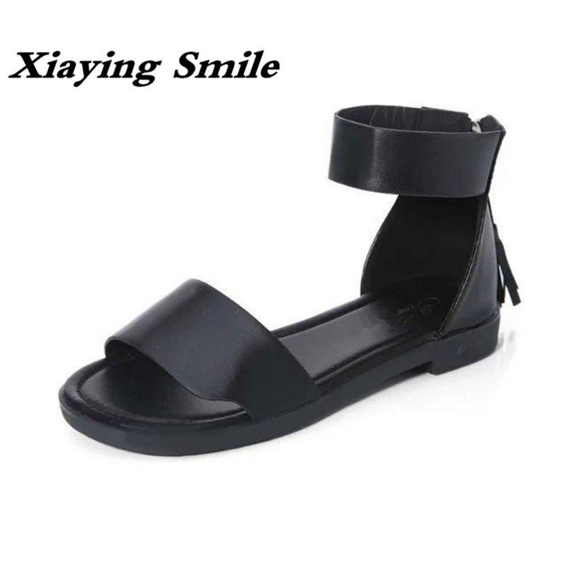 Xiaying Smile Summer New Woman Sandals Casual Fashion Shoes Women Zip Fringe Flats Cover Heel Consice Style Rubber Student Shoes xiaying smile woman flats women brogue shoes loafers spring summer casual slip on round toe rubber new black white women shoes