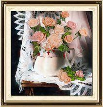 Needlework,DIY Ribbon Cross stitch Sets for Embroidery kit,Curtain table vase rose flower ribbon Cross-Stitch handwork wedding