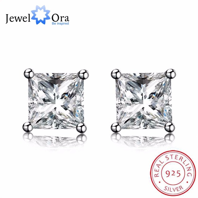 Solid 925 Sterling Silver Stud Earring Clic 4mm 9mm Square Cubic Zirconia Earrings For Women